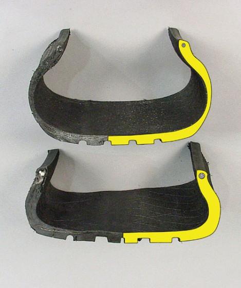 Vue coupé d'un pneu runflat au-dessus d'un standard