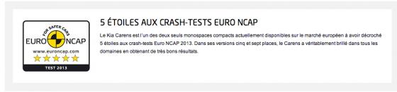 test EuroNCAP Kia Carens