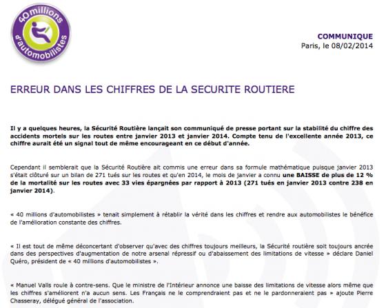 ERREUR DANS LES CHIFFRES DE LA SECURITE ROUTIERE