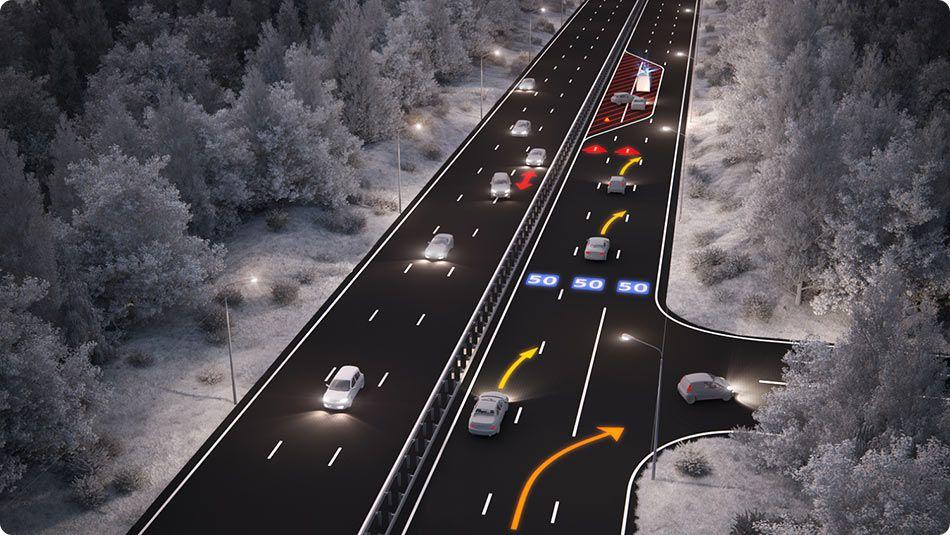 Concept de route intelligente au Pays-Bas.