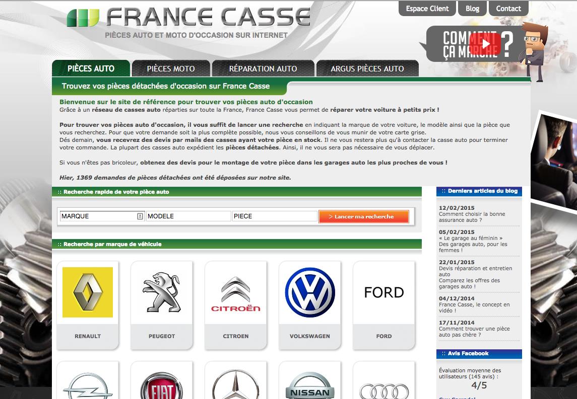 Site Internet de FranceCasse pour trouver des pièces auto