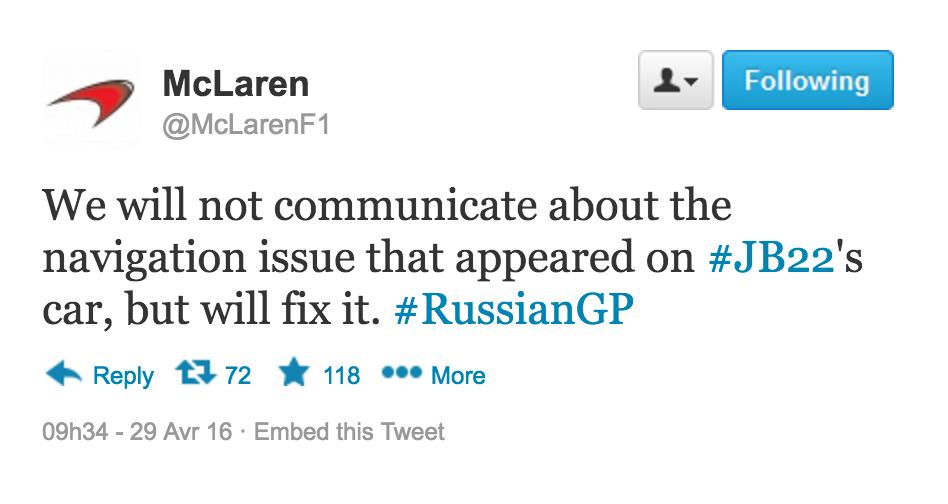 McLaren a refusé de se prononcer suite à cet événement.
