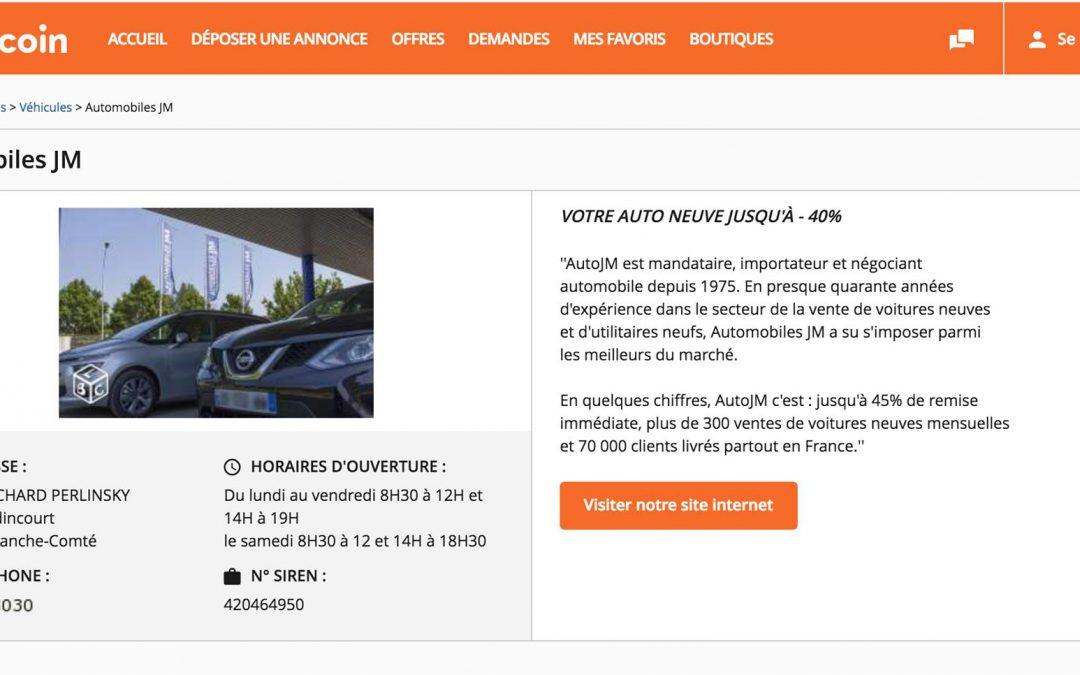 Désormais, AutoJM casse aussi les prix sur Leboncoin