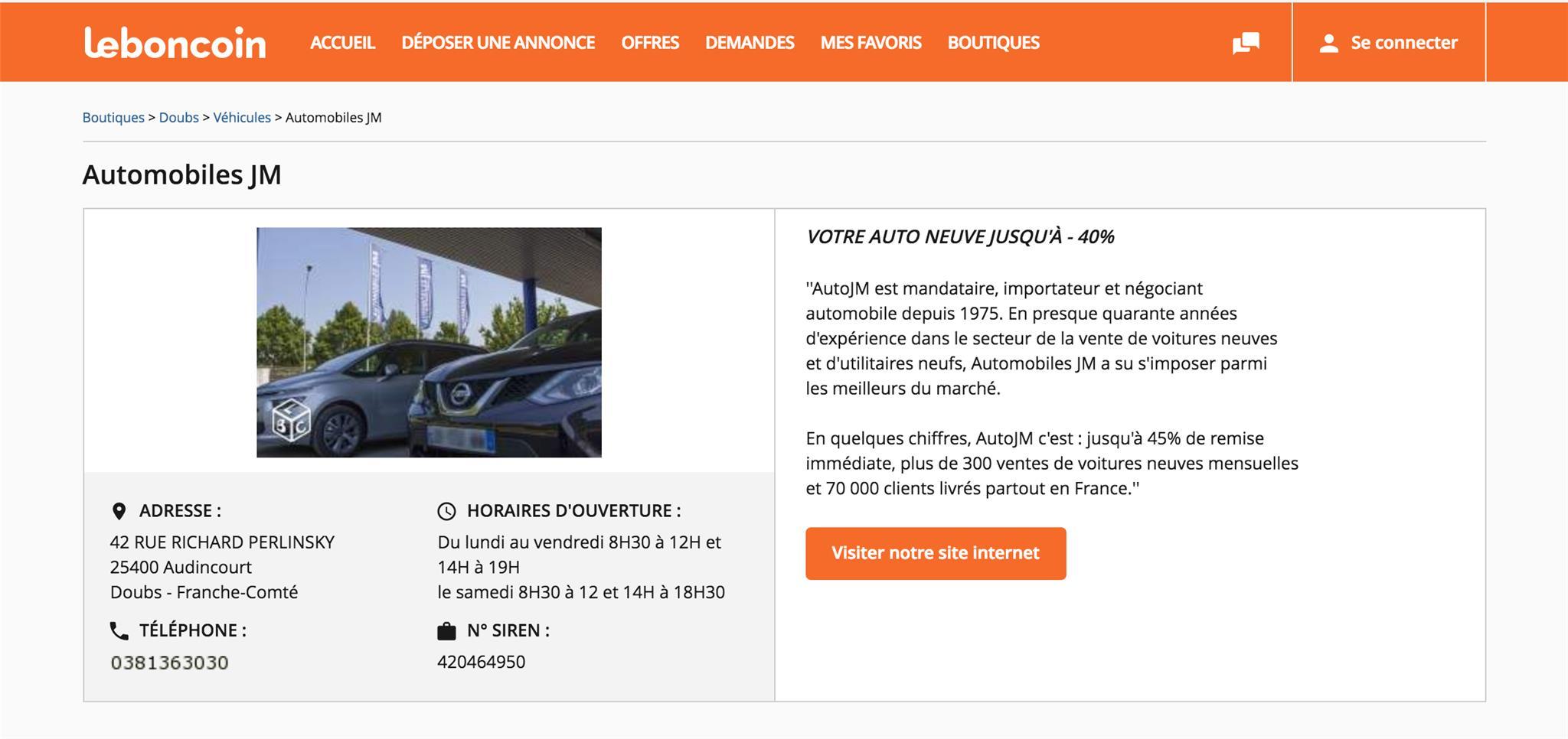 Boutique Leboncoin d'AutoJM