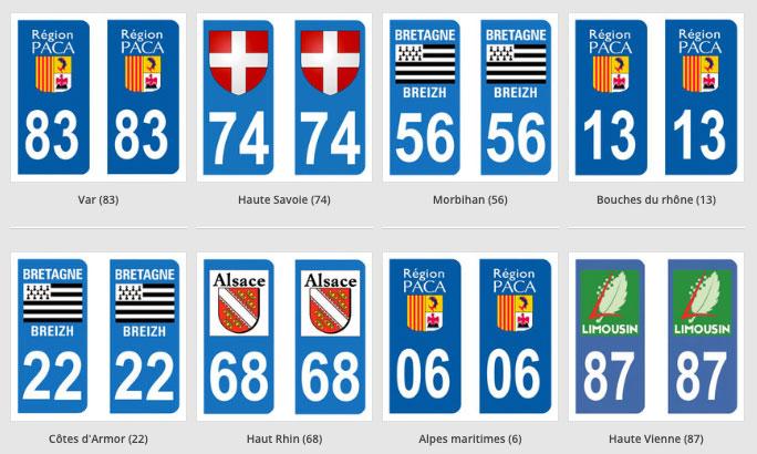Des autocollants pour plaques d'immatriculation
